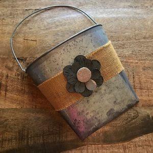 Other - Metal wall hanging basket flower burlap